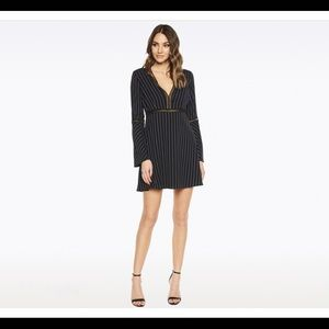Bardot Black Mini Long Sleeve Pinstripe Dress 2
